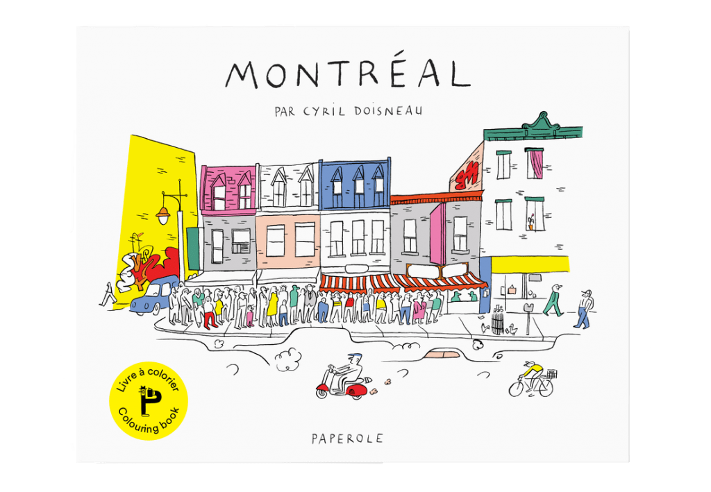Cover of a Montréal colouring book showing an illustration of a typical daily Montréal scene