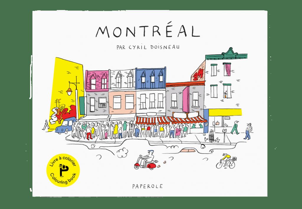 La couverture d'un cahier à colorier sur Montréal illustrant une scène quotidienne de la vie montréalaise par Cyril Doisneau pour Paperole