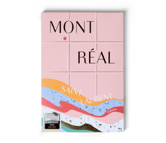 Chocolate bar covered by a stylized post card of Montréal featuring the Saint-Lawrence river