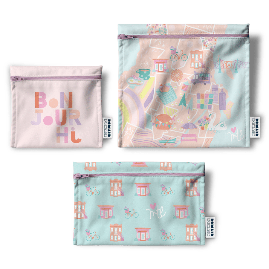 Three resusable bags featuring different Montréal themed designs