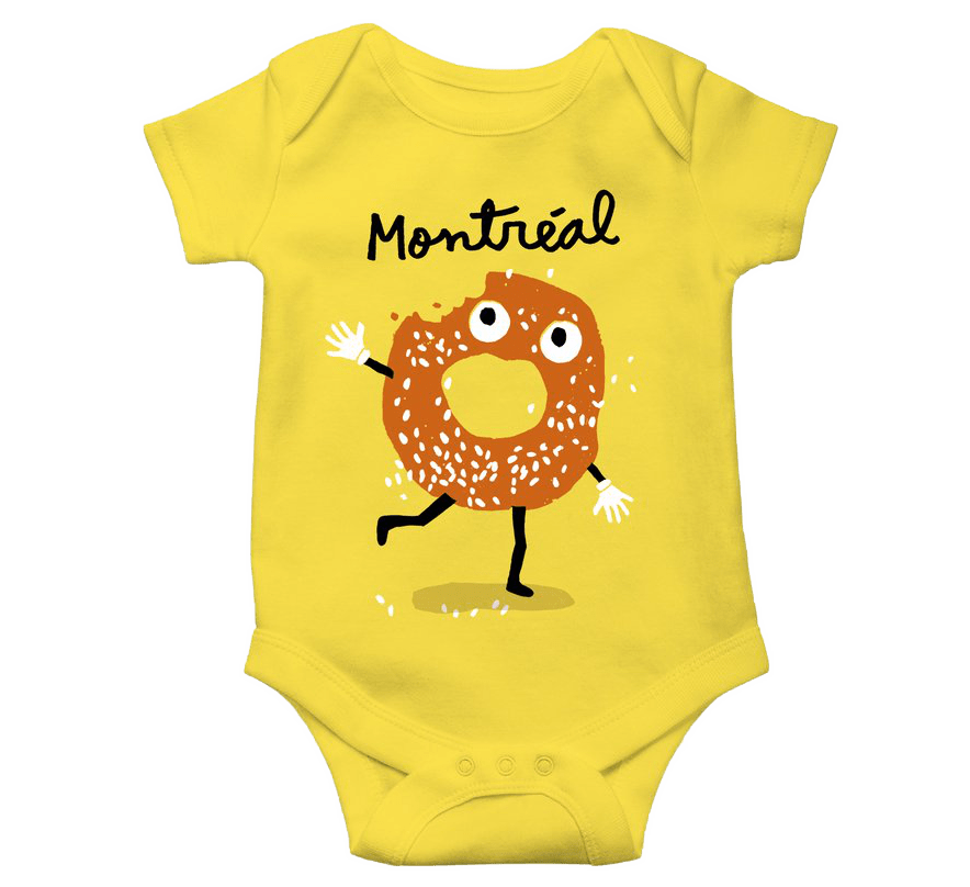"""Yellow onesie with the word """"Montréal"""" and a cartoon bagel, with a bite missing, running and waving"""