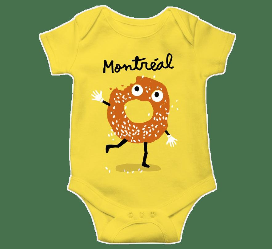 """Cache-couche jaune avec le mot """"Montréal"""" et l'illustration d'un bagel lui manquant une bouchée qui court en faisant aller la main"""
