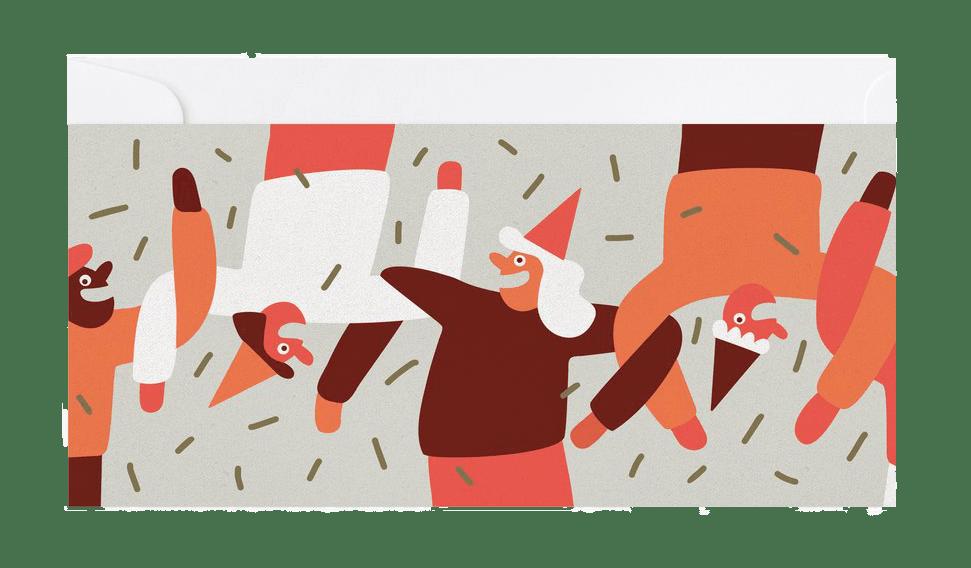 Des bonhommes aux chapeaux de fête dansent les bras dans les bras sous les confettis