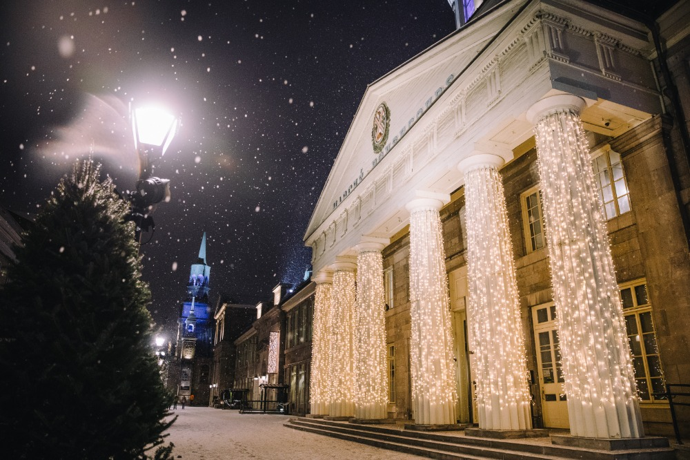 The Bonsecours Market's columns, wrapped in lights